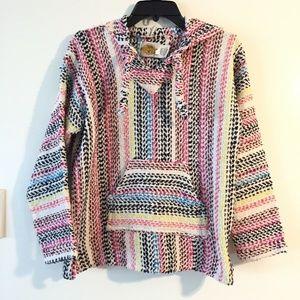 Rasta Style Knit Hoodie Popover Top Oversized Sz S
